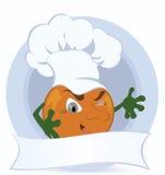 Orange-cartoon-character-with-promo-ribbon Royalty Free Stock Photos