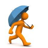 Manikin Runs Umbrella Stock Photos