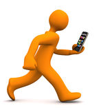 Manikin Smartphone Run. Orange cartoon character runs with a smartphone. White background Stock Images