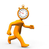 Stopwatch Head Run. Orange cartoon character with runs with stopwatch in the head Stock Image