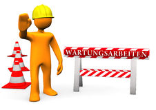Maintenance. Orange cartoon character on site with german text Wartungsarbeiten translate maintenance Royalty Free Stock Photo