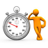Stopwatch Manikin. Orange cartoon character with stopwatch. White background Royalty Free Stock Photography