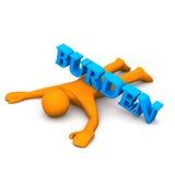Burden. Orange cartoon character with text burden Stock Image