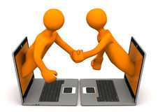Manikins Laptops Handshake Royalty Free Stock Photos