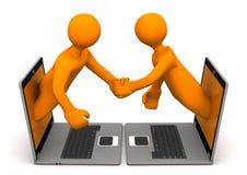 Manikins Laptops Handshake. Orange cartoon characters with laptops makes handshake Royalty Free Stock Photos