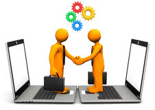 Handshake Laptop Gears Royalty Free Stock Photo