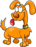 Orange cartoon dog in green collar Royalty Free Stock Photography