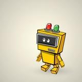 Orange Cartoon doodle Robot. Kids drawing style Royalty Free Stock Photography