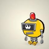 Orange Cartoon doodle Robot. Kids drawing style Stock Photography