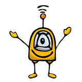 Orange Cartoon doodle Robot on white Stock Photography