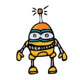 Orange Cartoon doodle Robot on white Stock Photos