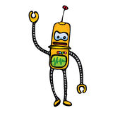 Orange Cartoon doodle Robot on white Royalty Free Stock Images