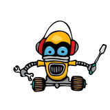 Orange Cartoon doodle Robot on white Royalty Free Stock Photos