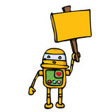 Orange Cartoon doodle Robot on white Stock Photo