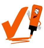 Orange cartoon highlighter pen with bold tick or check mark. Stock Photo