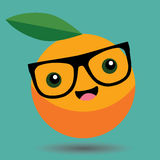 Orange Cartoon Kawaii Vector - Food Cartoon Kawaii. Vector - Fruit Cartoon Kawaii Vector Royalty Free Stock Photography