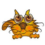 Orange cartoon kitten. Orange cartoon cat kitten. Beautiful, cheerful funny Stock Photography