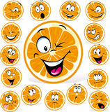 Orange cartoon with many expressions stock illustration