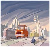 Orange cartoon retro car Royalty Free Stock Photo