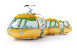 Orange cartoon tram two wagon Stock Image