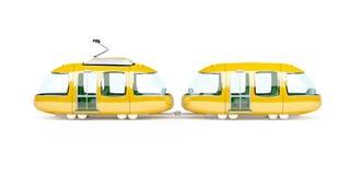 Orange cartoon tram two wagon side Stock Photos