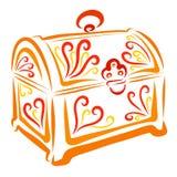 Orange casket med den färgrika modellen, bröstkorg av juvlar vektor illustrationer