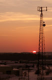 Orange Cast Cellphone Tower Stock Photography