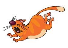 Orange Cat. Running funny orange cat cartoon Royalty Free Stock Photo