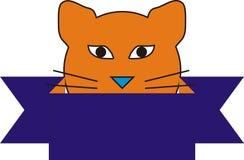 Orange Cat Behind The Blue lizenzfreie stockfotografie
