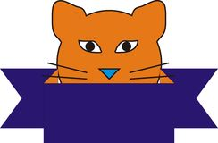 Orange Cat Behind The  Blue Royalty Free Stock Photography