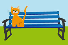Orange cat on a blue bench in the park vector. Orange cat is sitting on a blue bench in the park, blue sky and green grass, vector vector illustration