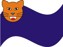 Orange Cat and Blue Side Background Royalty Free Stock Photos