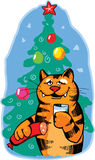 The orange cat celebrates new year. Vector illustration Royalty Free Stock Images