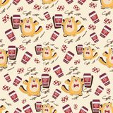 Orange cat and coffee on a light background. Stock Image