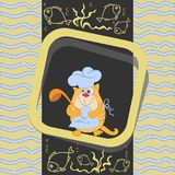 Orange cat cook with a ladle and fish. Emblem, banner, poster. Design for the menu, grocery store, printing on fabric or paper Royalty Free Stock Photos