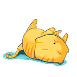 Orange Cat Cute Cartoon Sleep. Vector Stock Image