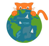 The orange cat and the earth funny cute cartoon illustration Stock Image