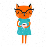 Orange Cat girl in a blue dress with a yellow belt and glasses, cat is holding a cup of coffe. Royalty Free Stock Image