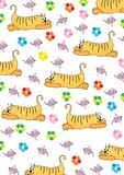 Orange cat hunts on a pink mouse. Over white Royalty Free Stock Photo