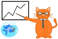 Orange cat manager with his assistant blue fish Royalty Free Stock Photography