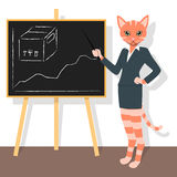 Orange cat pointing to the chart Royalty Free Stock Image