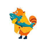 Orange Cat in a Raincoat Hugs  Fish. Vector Royalty Free Stock Photography