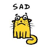 Orange cat is sad. Vector illustration. stock illustration
