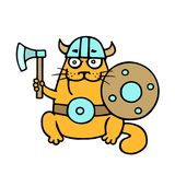 Orange cat viking with ready for battle. Vector illustration. royalty free stock images