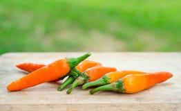 Orange cayenne pepper on wood table Stock Photos