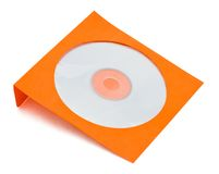 Orange cd kuvert på white Arkivbilder