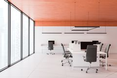 Orange ceiling open space office interior royalty free stock image