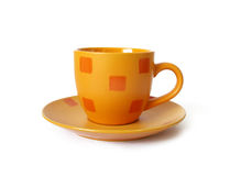 Orange ceramic cup of coffee Royalty Free Stock Images