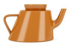 Orange ceramic teapot isolated on white Royalty Free Stock Photography