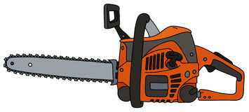 Orange chainsaw. Hand drawing of an orange chainsaw Royalty Free Stock Photography